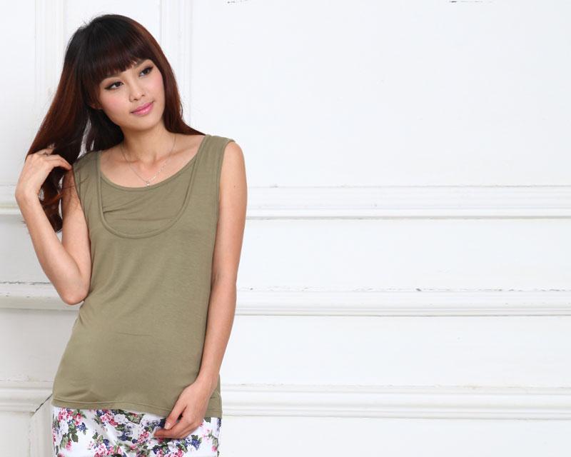 竹繊維授乳服タンクトップのカーキイメージ画像