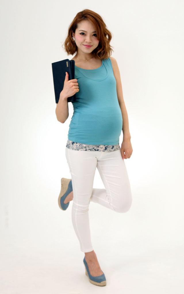 竹繊維授乳服タンクトップのマタニティ着用