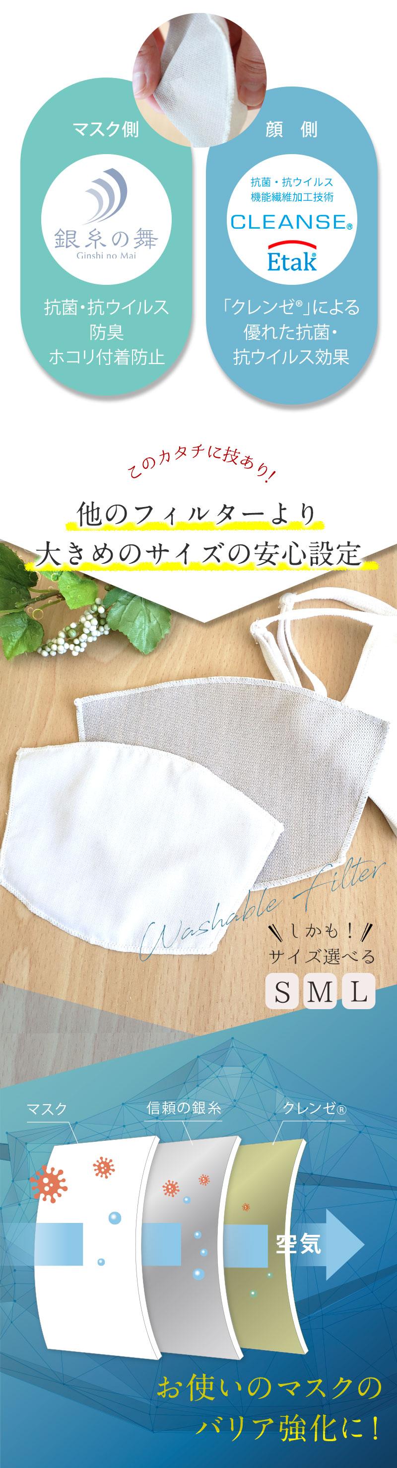 銀繊維 クレンゼ® マスク用フィルター マスク フィルター マスクシート マスク用シート