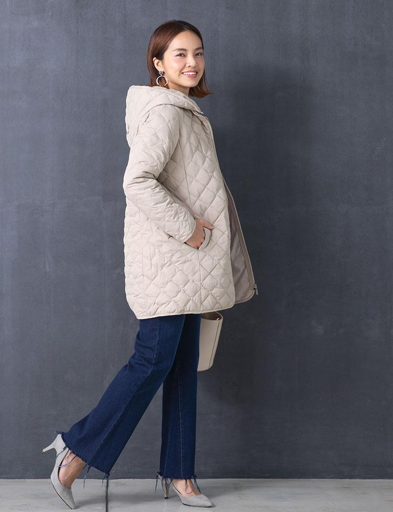 スプリングコート キルティングコート モデル着用イメージ カジュアルコーデ