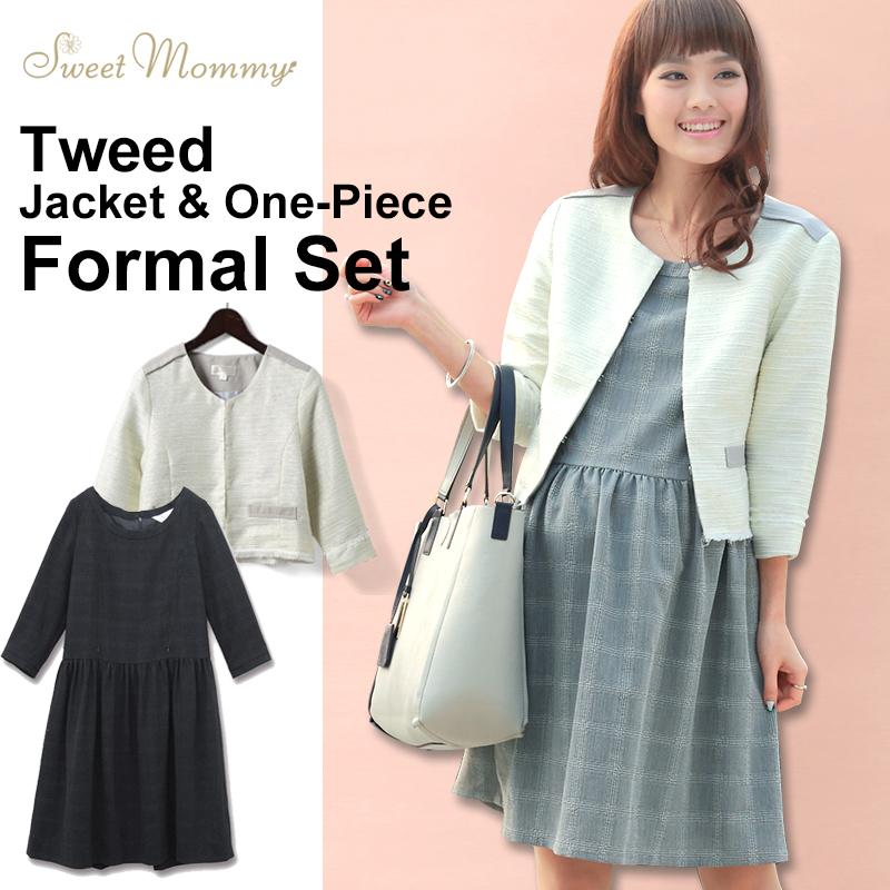 人気ジャケット&授乳服ワンピースセットのメイン画像