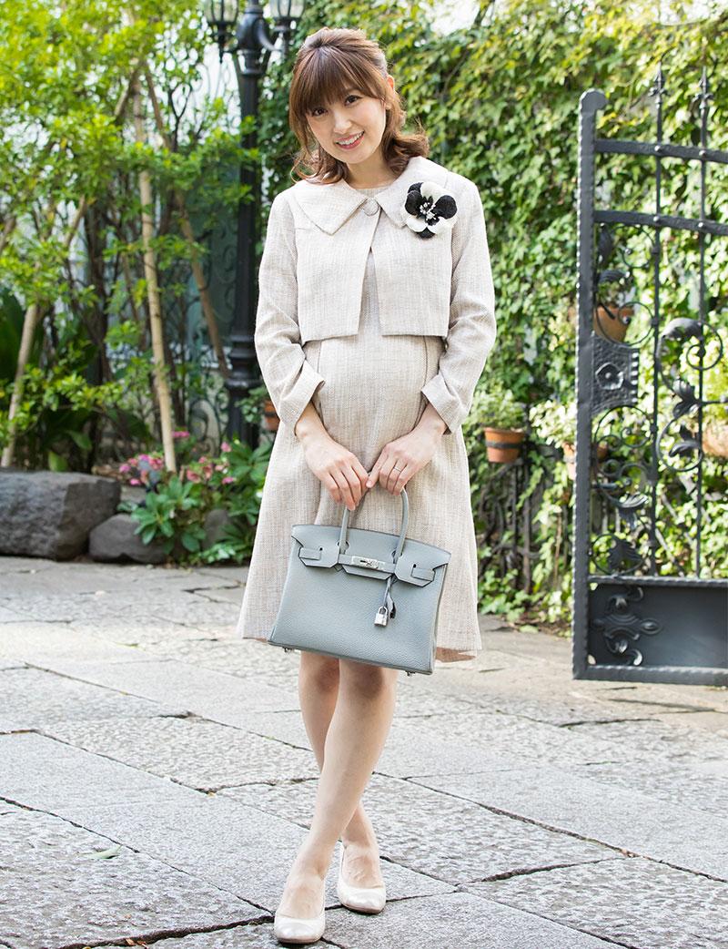 フォーマルなツイードアンサンブルの授乳服 ワンピース全身モデル画像