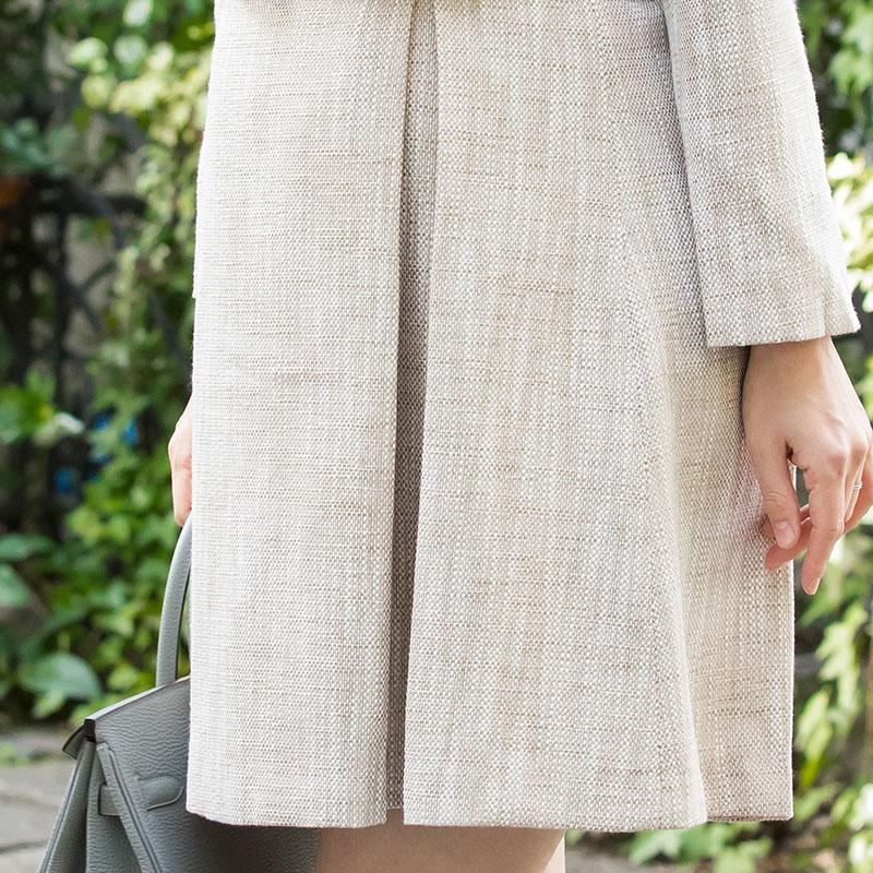 フォーマルなツイードアンサンブルの授乳服 マタニティワンピ 外国人モデルイメージ画像