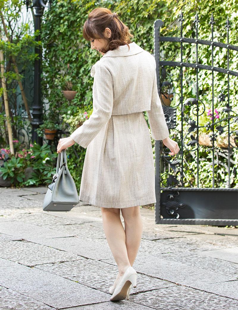 フォーマルなツイードアンサンブルの授乳服 マタニティワンピ セット内容紹介画像