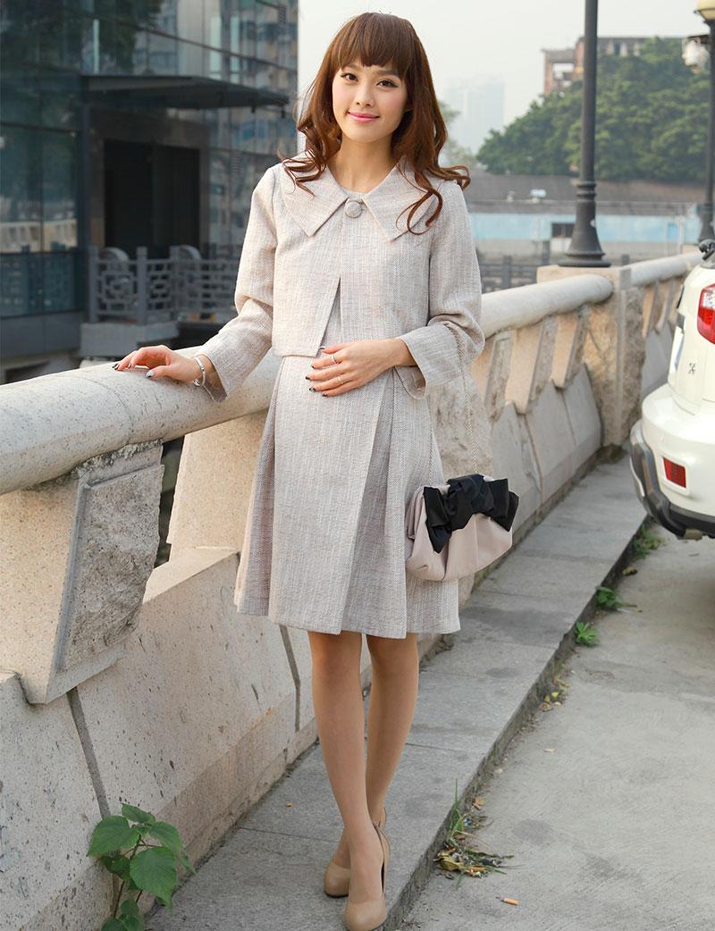 フォーマルなツイードアンサンブルの授乳服 ワンピース産前産後着用イメージ