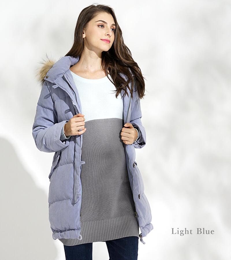 キレイな色って褒められるライトブルー ママコート着用イメージ