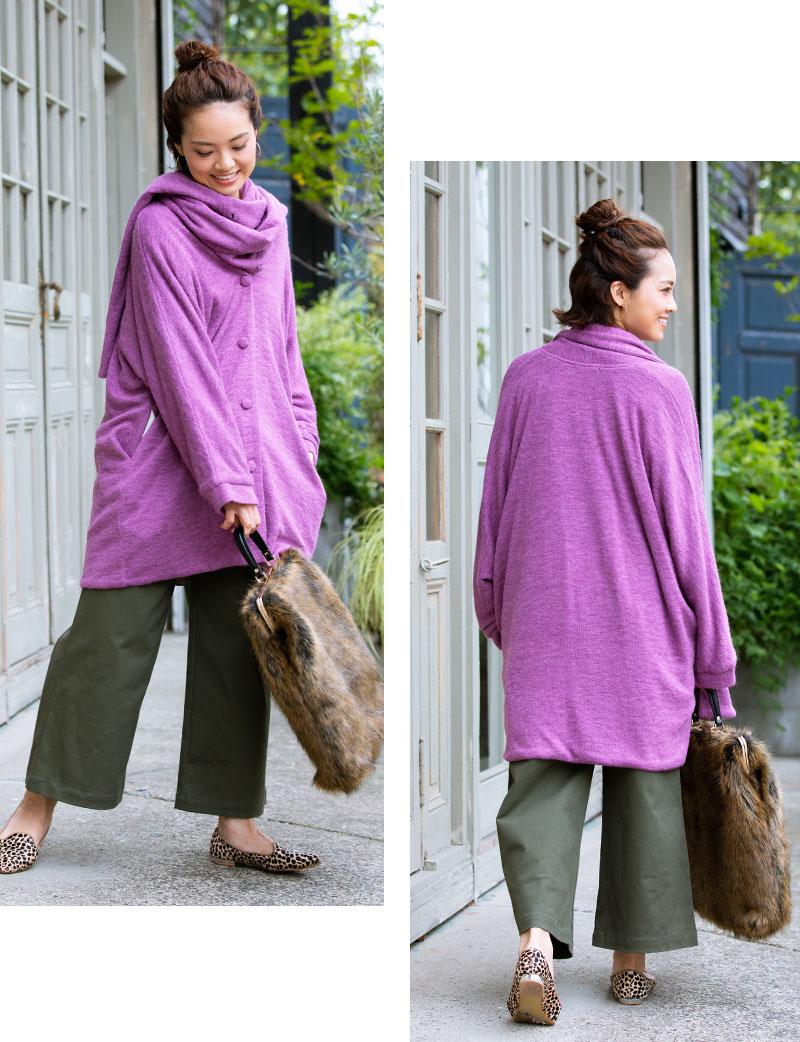 ママポンチョ ママひとりの着用イメージ オーバーサイズが可愛いパープル