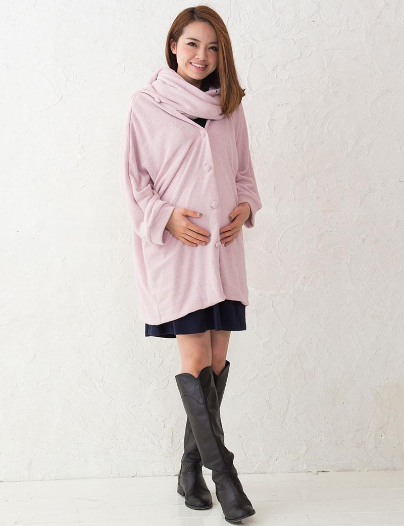 秋冬アウター ピンクのママポンチョ マタニティ着用イメージ