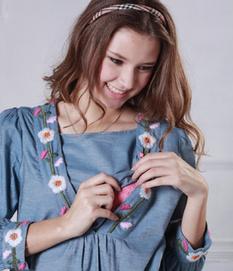 Vネック刺繍ダンガリーシャツワンピース 授乳服&マタニティウェア[so0306]