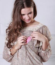 スクエアネック 小花柄シフォン授乳トップス 授乳服&マタニティウェア[so0352]