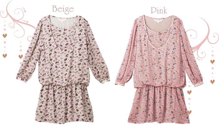 花柄シフォン 授乳ワンピース 授乳服&マタニティウェア