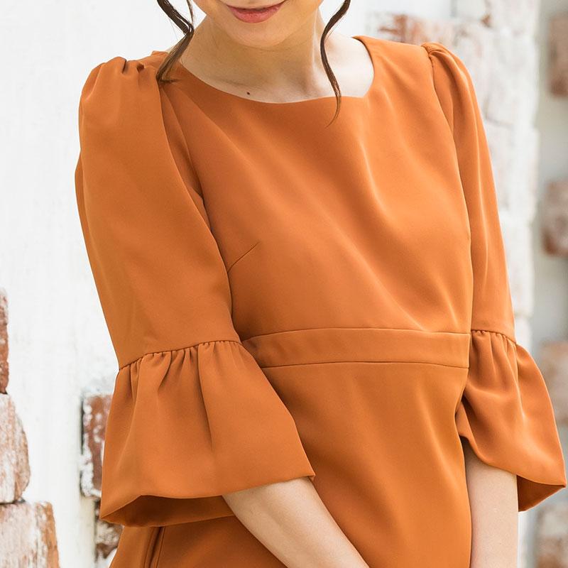 マタニティフォーマルウェア 旬の袖コンシャスデザイン お袖のフリルが大人可愛い