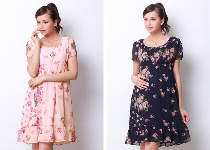 裾フリル 花柄シフォン 半袖 授乳ワンピース 【アーニー】 授乳服&マタニティウェア