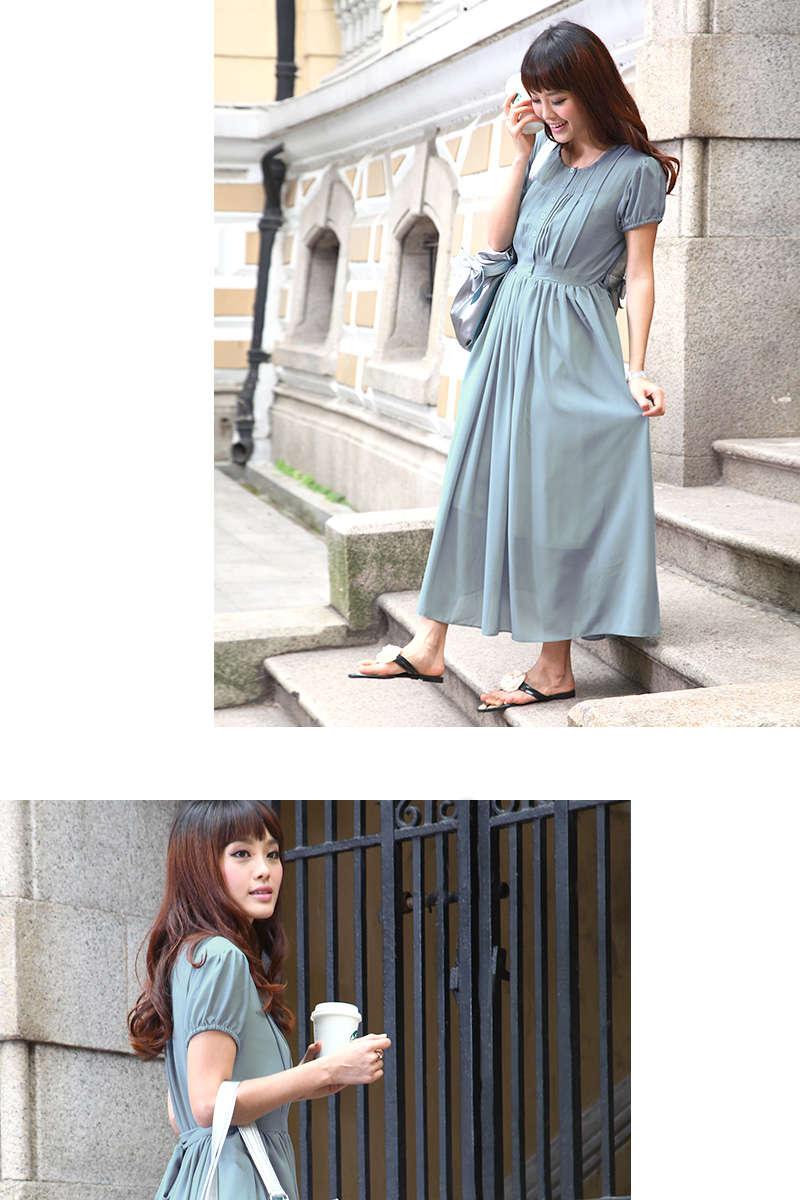 授乳服ロングマキシ丈ワンピの外着用ブルー