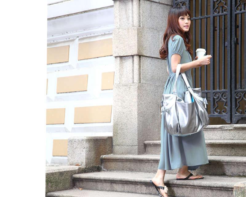 授乳服ロングマキシ丈ワンピの裾丈画像