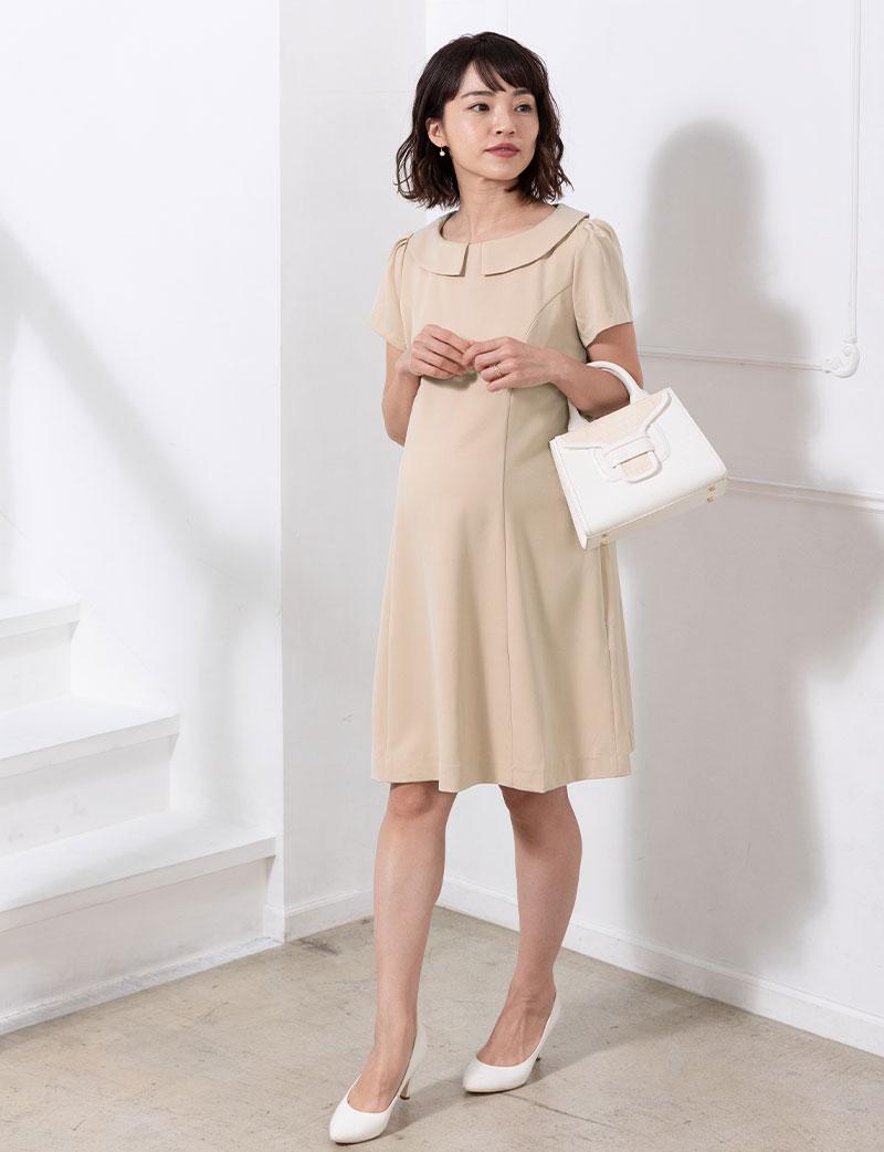 マタニティウェアとしても綺麗に着れる授乳服ワンピース