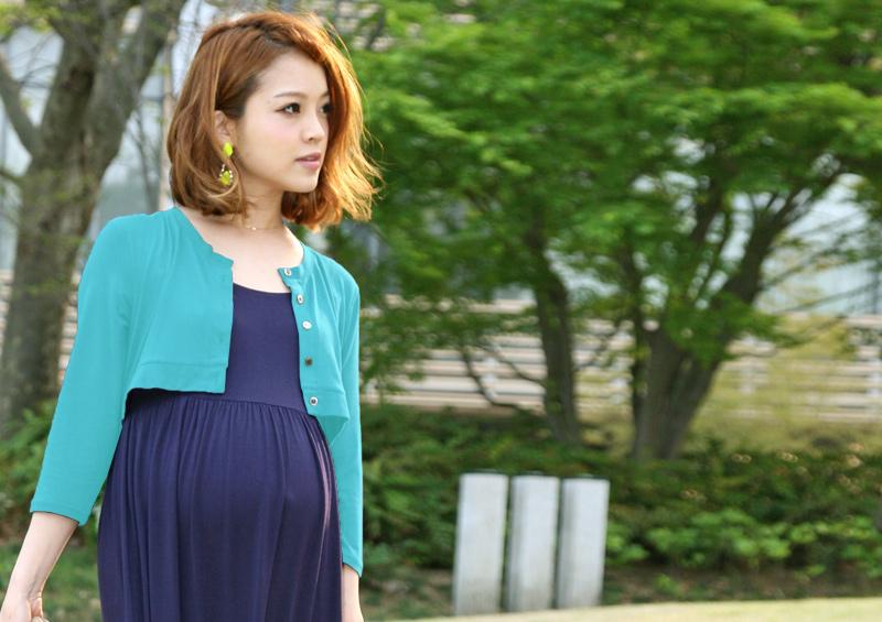 授乳服マキシワンピースの外着用イメージ