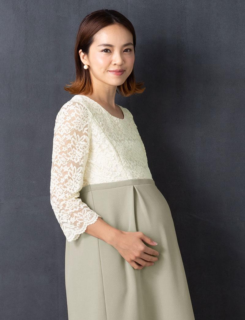 妊娠中も可愛いねって褒められちゃう マタニティフォーマルワンピース