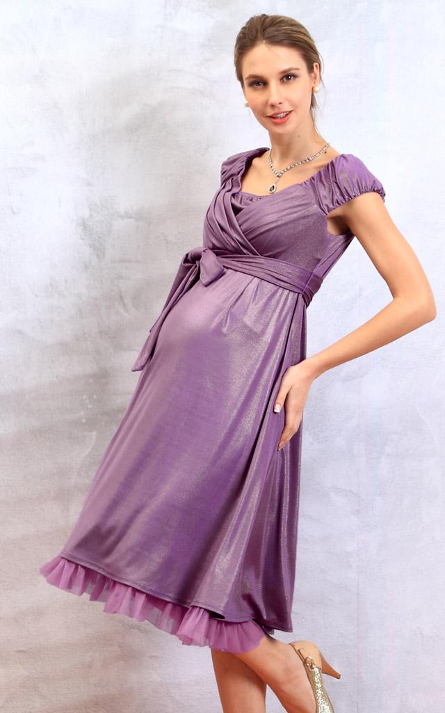 エレガント授乳服ドレスのマタニティ着用