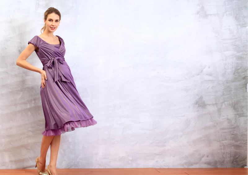 エレガント授乳服ドレスのパープル全身