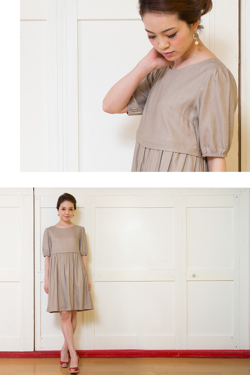 リネンナチュラル授乳服ワンピのベージュ着用イメージ