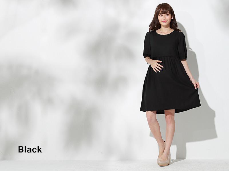 リネンナチュラル授乳服ワンピのブラック
