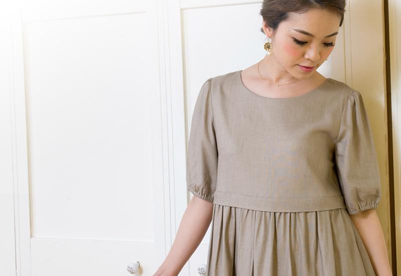 リネンナチュラル授乳服ワンピのバストアップ