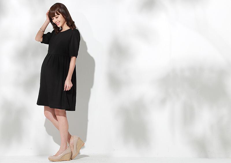 リネンナチュラル授乳服ワンピのマタニティ着用イメージ