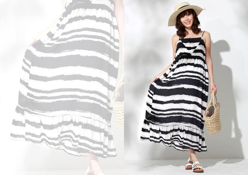 授乳服マキシワンピースのブラックイメージ画像