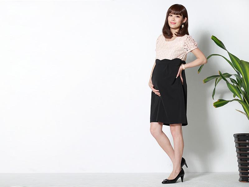 妊婦さんもきれいなシルエットでご着用いただける授乳服マタニティウェアドレス