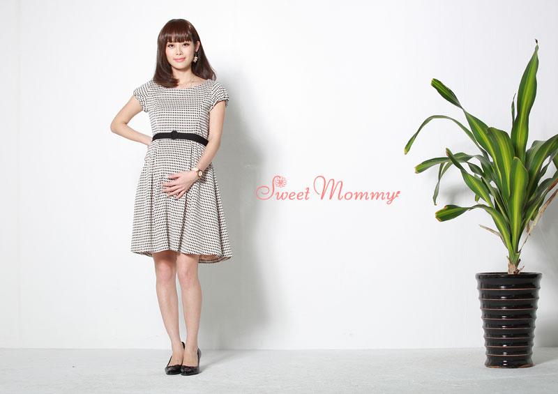 ジャガード織りのチェック柄授乳服ワンピースのイメージ画像