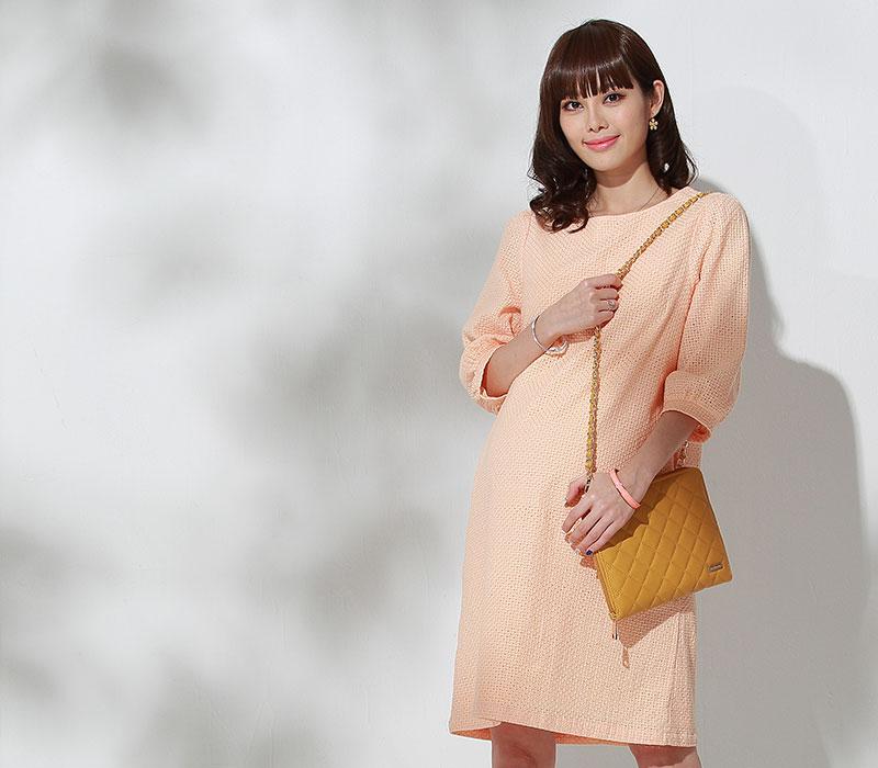 コットン100%授乳服ワンピースのメイン画像