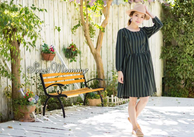 授乳服とマタニティウェアのスウィートマミーがおすすめするカラーストライプ授乳服ワンピ