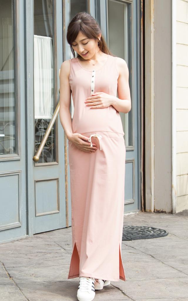 美シルエットのマキシは妊娠中からおしゃれにきれる!
