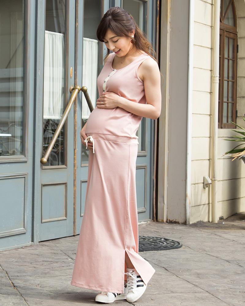 伸縮性の高い生地で妊娠中も安心