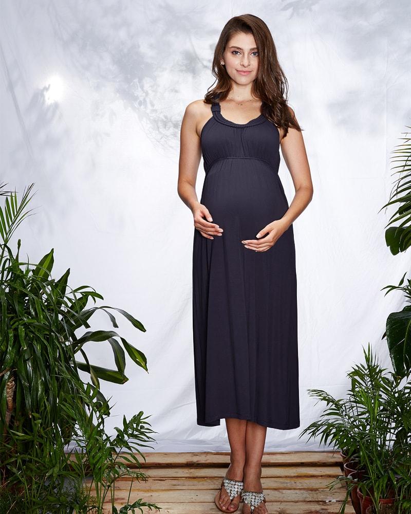妊婦さんのおなかも優しく包むおしゃれなマキシ丈マタニティウェアワンピ