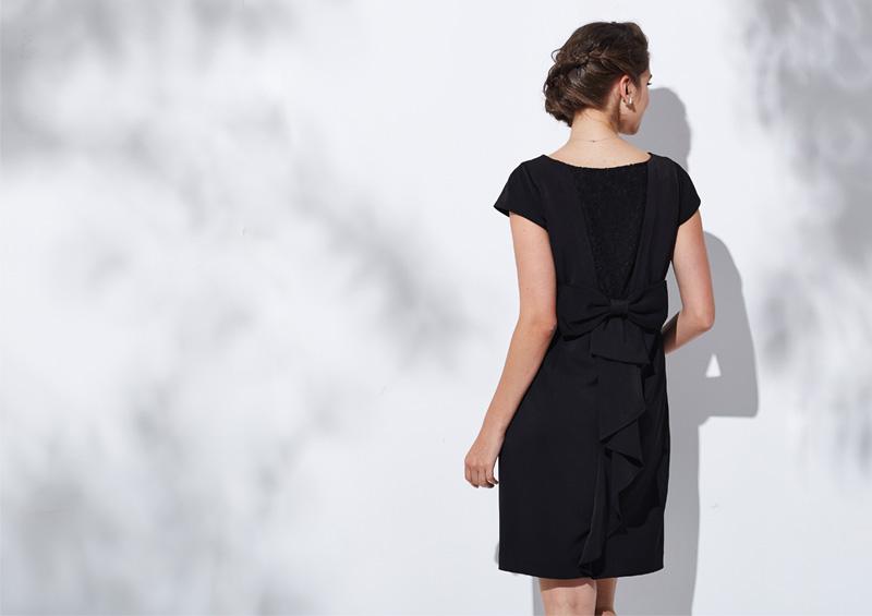 授乳服マタニティウェア バックシャン ワンピース ブラック バックスタイル