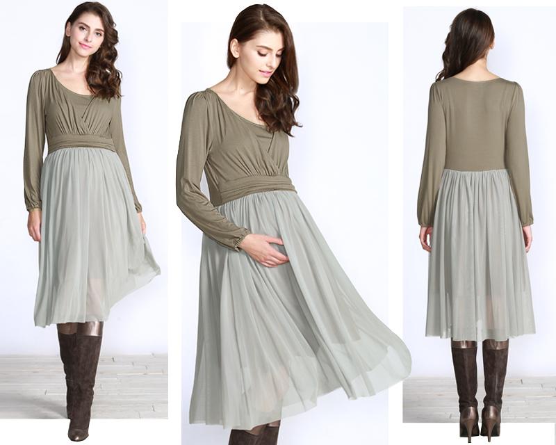 ふわりと風に舞うスカートがきれいな授乳服ワンピース