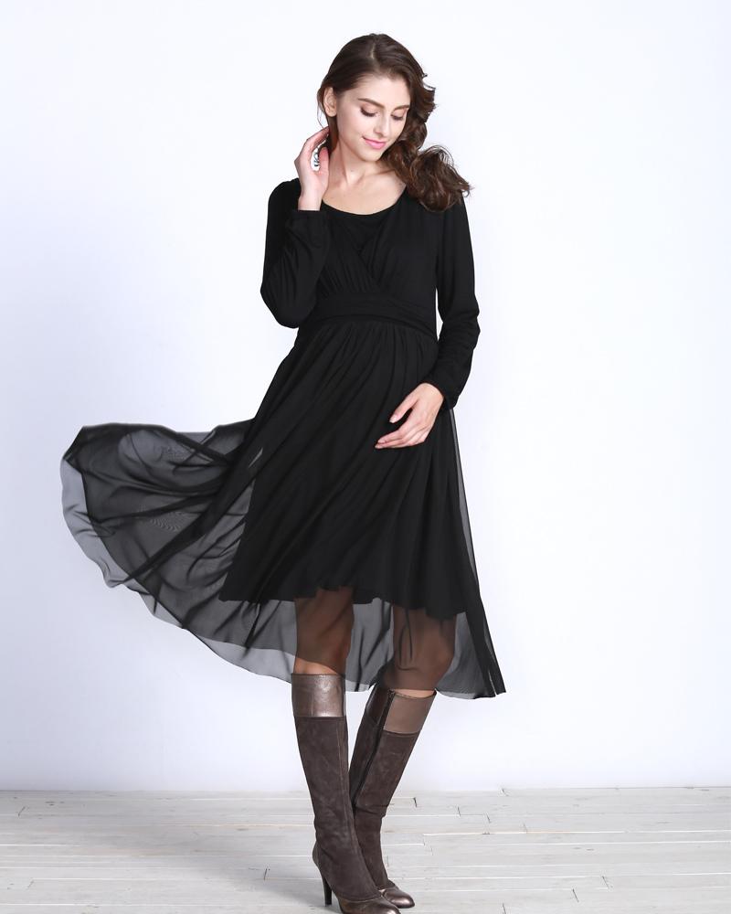 裾の翻りが美しい授乳服ワンピース