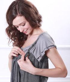 リボン付きダンガリーショートサロペット授乳機能付き 授乳服オールインワン[sp0174]