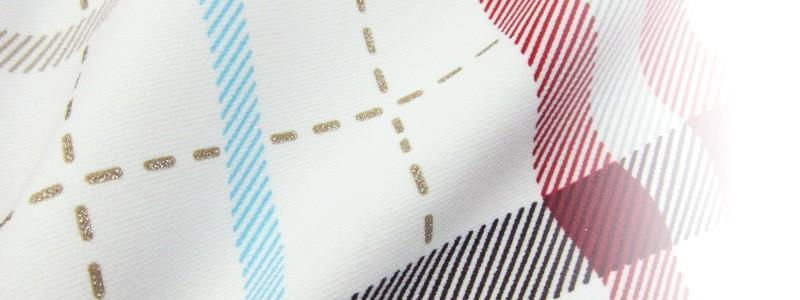 チェックプリント 胸元シャーリング スイムウェア