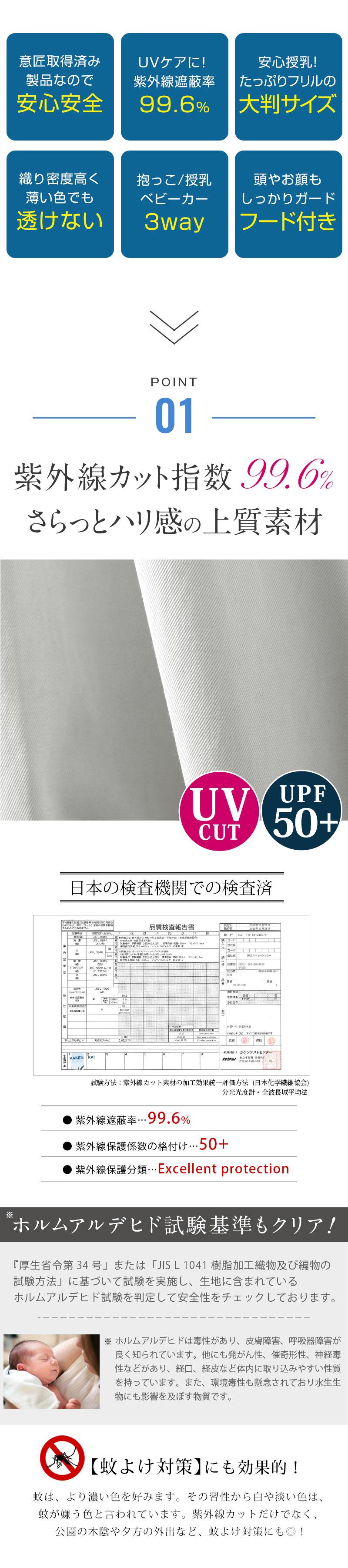 紫外線遮蔽率99.6%!3WAY UVカットマルチケープ