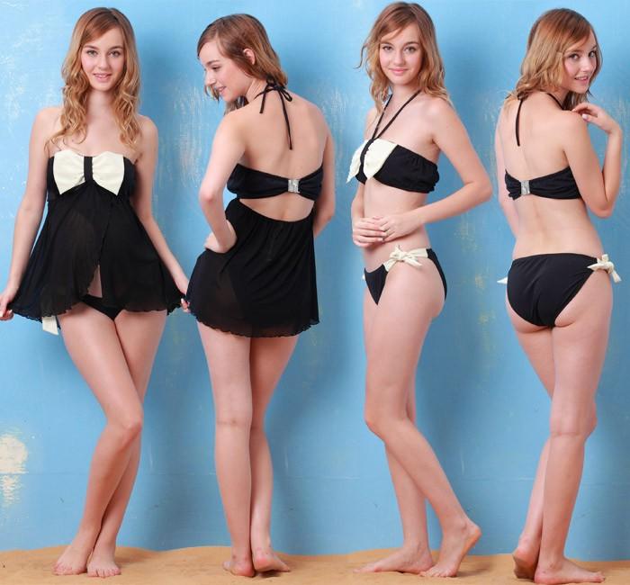 胸元の大きなリボンがキュートな2WAYスイムウェア パレオ スカート付き