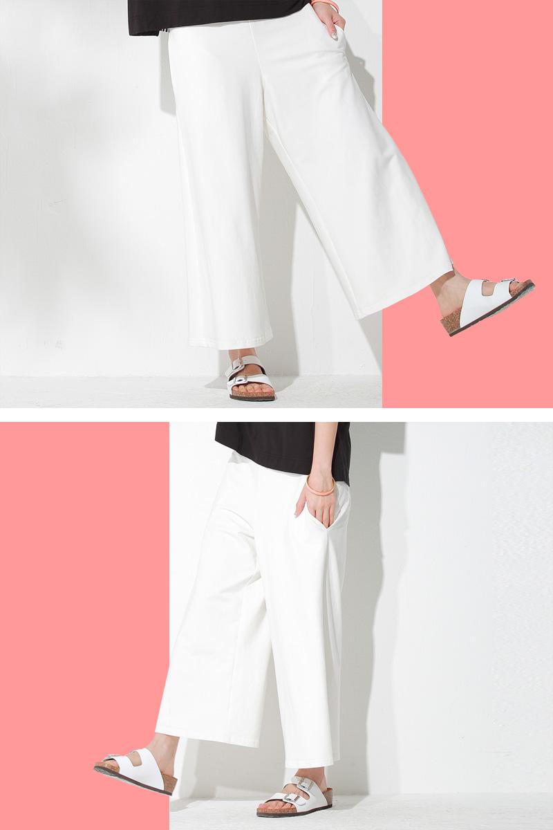 マタニティウェアガウチョパンツのホワイト着用イメージ1