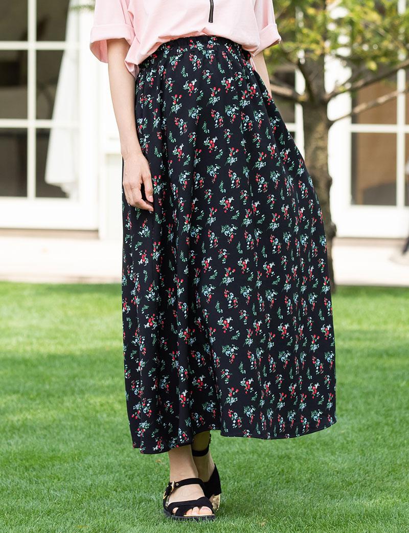 小花柄のおしゃれなマタニティロングスカート