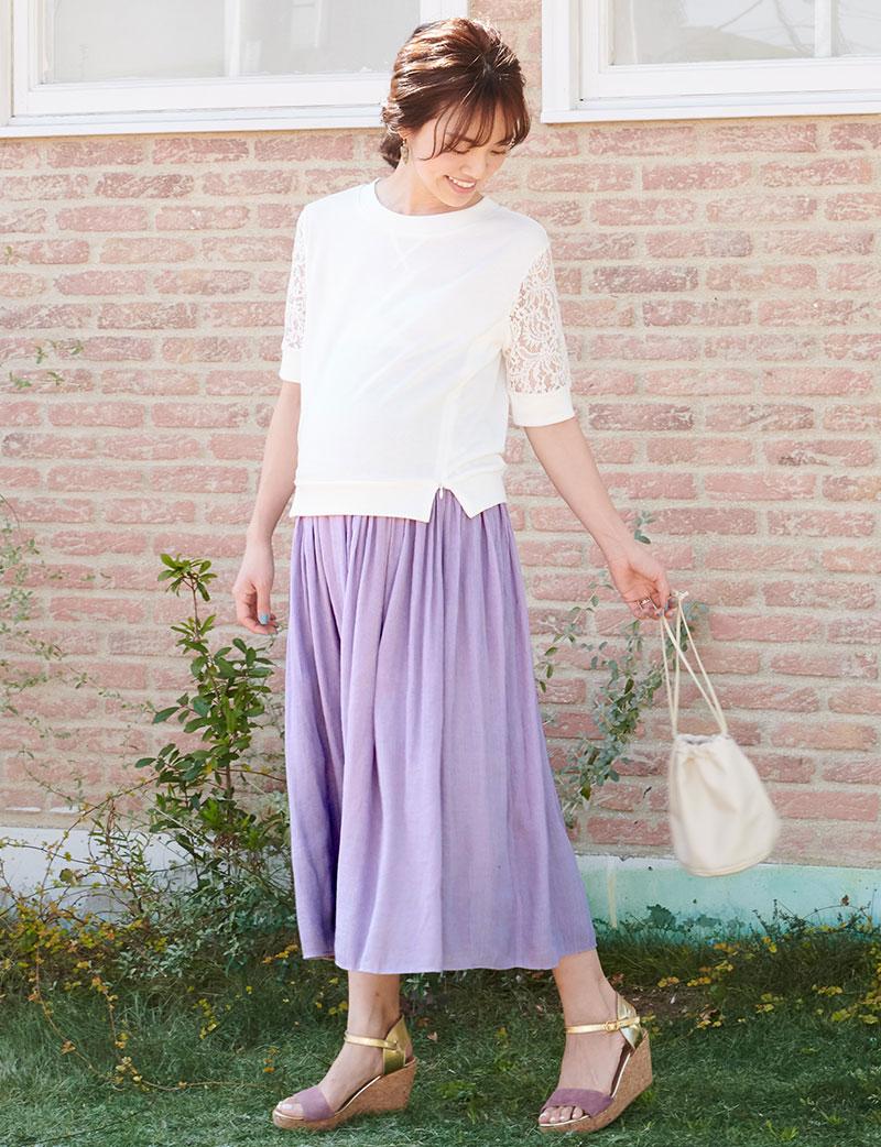 プレママに嬉しいプチマキシ丈のマタニティスカート