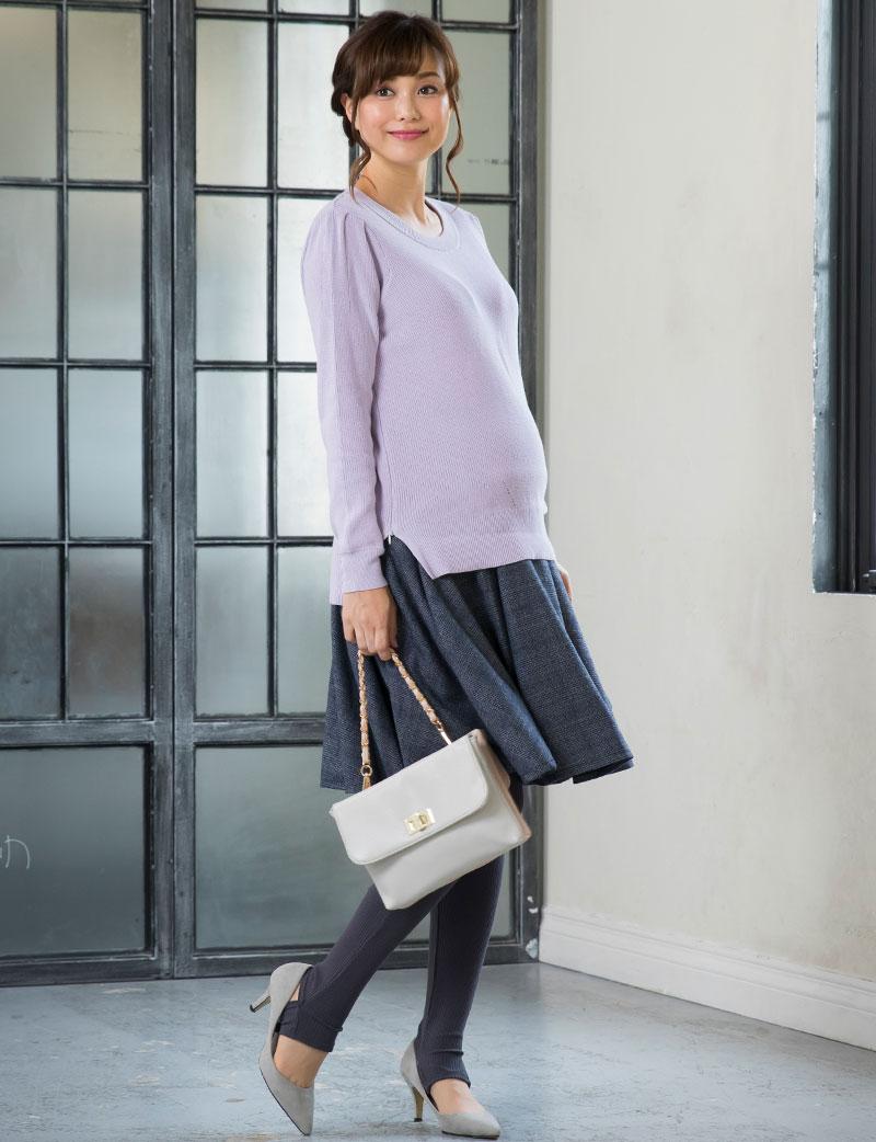 秋冬のお出かけにぴったりのマタニティスカート