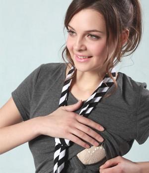 タイ付き半袖授乳Tシャツ