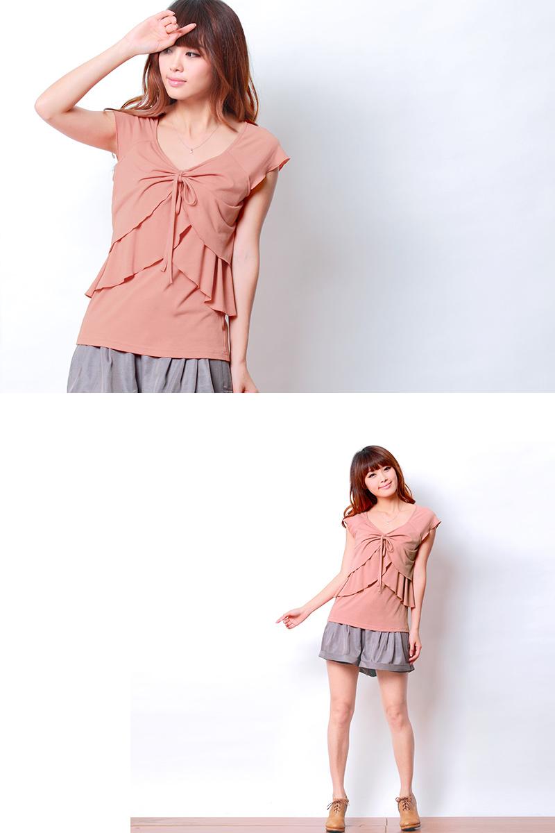 コーラルピンク授乳トップス着用イメージ