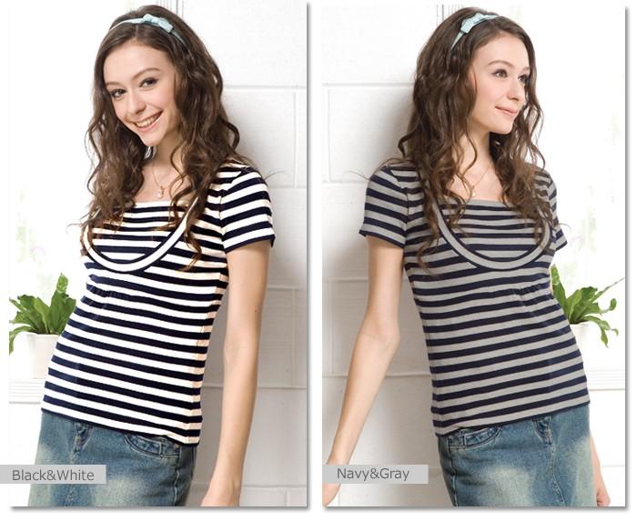 クルーネックボーダーTシャツ 授乳機能付